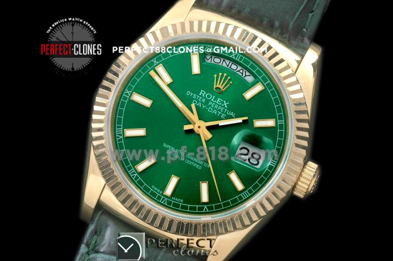 RLDDF60004L DayDate Fluted Green YG/LE Asian 2836