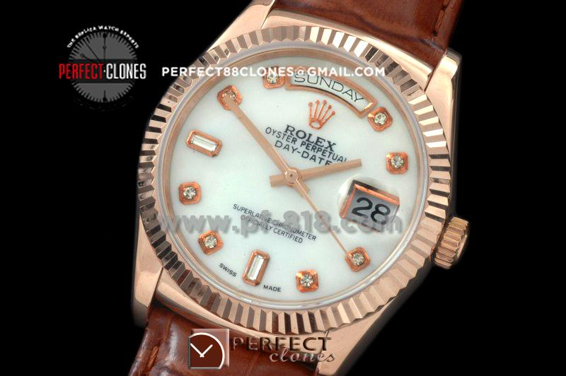 RLDDR60026L DayDate Fluted M-White Diam RG/LE Asian 2836