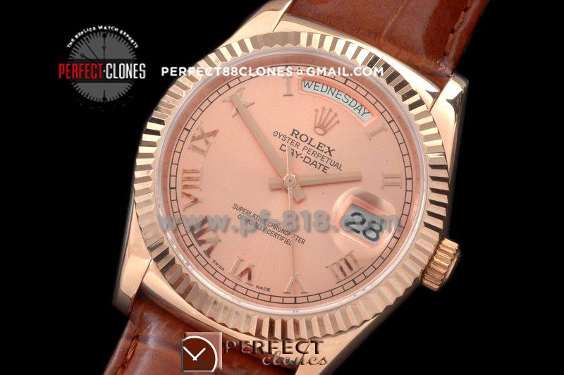 RLDDR60115L DayDate Fluted Rose Roman RG/LE Asian 2813