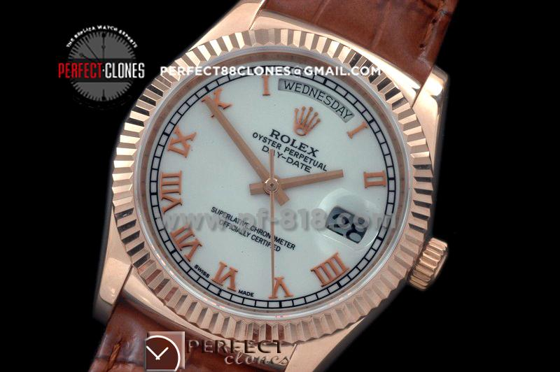 RLDDR60011L DayDate Fluted White Roman RG/LE Asian 2836