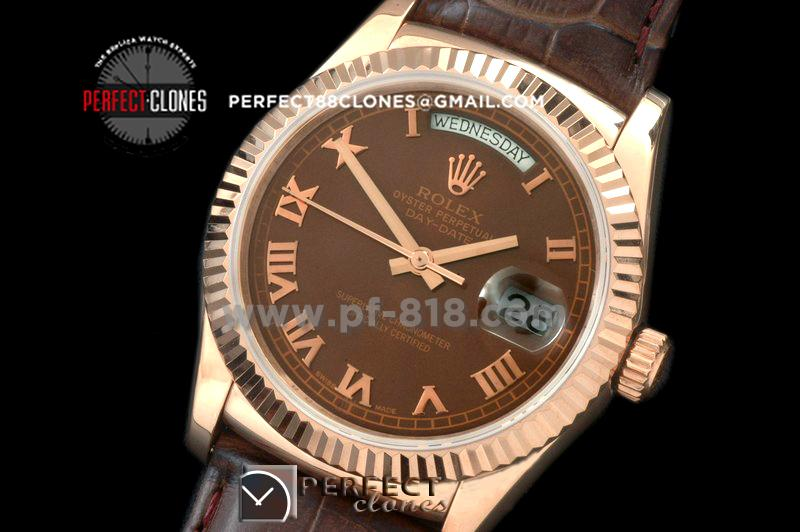 RLDDR60114L DayDate Fluted Brown Roman RG/LE Asian 2813