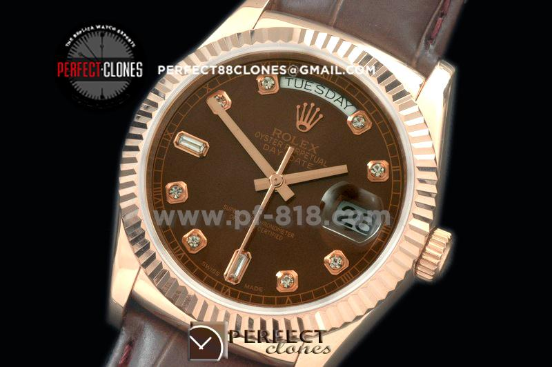 RLDDR60024L DayDate Fluted Brown Diam RG/LE Asian 2836