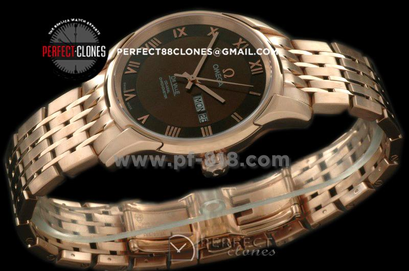 0MDE10073 Deville Co Axial Day/Date RG/RG Brown Asian 2836
