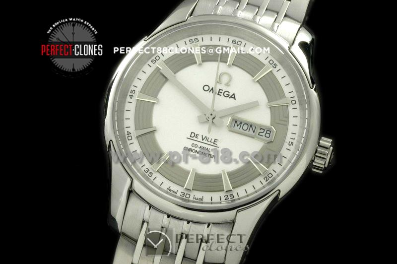 0MDE10066 Deville Co Axial Day/Date SS/SS White Asian 2836