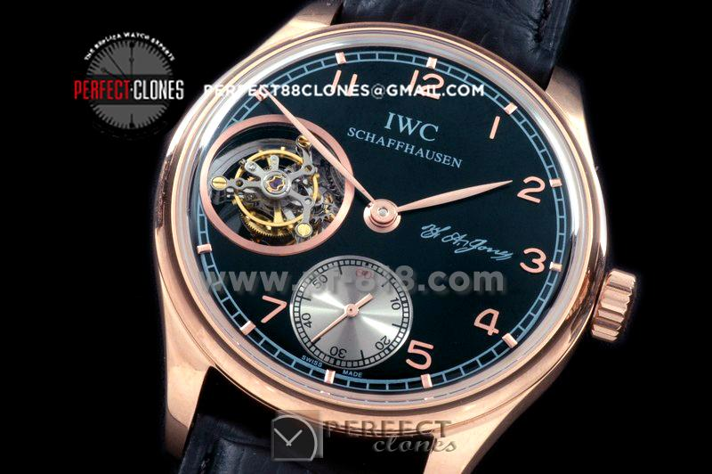 IWPTB00117 Portugese FA Jones Tourbillon RG/LE Black Tourbillo