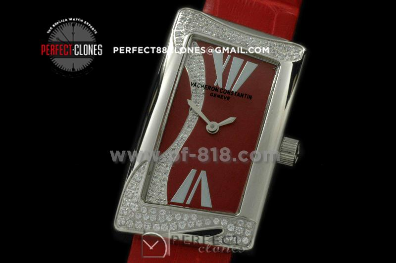 VC1972-105D 1972 Ladies SS/Diam/LE Red Swiss Qtz