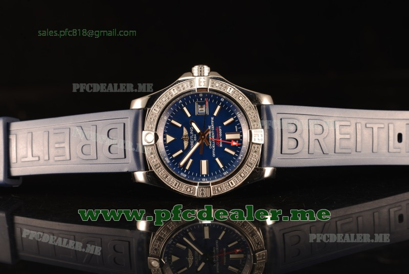 Breitling Avenger II GMT Blue Dial With Swiss ETA 2836 Automatic Blue Rubber Strap Best Edition A32390111C1S2