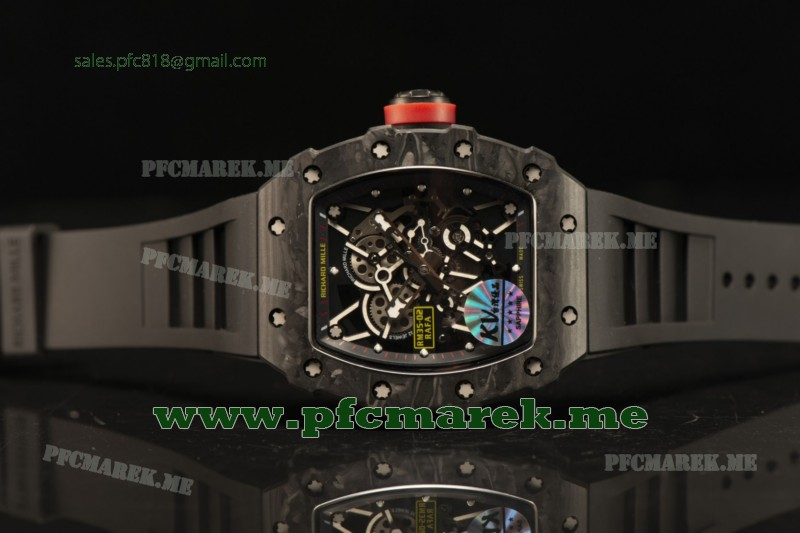 Richard Mille RM35-02 Carbon Fiber With Red Crown Miyota 9015 Movement 1:1 Clone Black Rubber